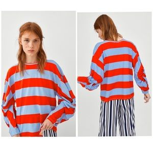 NWT ZARA | Striped Top W/ Long Knotted Sleeves L